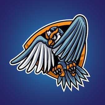 Flying owl badge maskottchen logo
