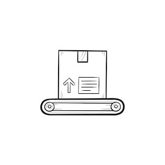 Förderband mit box handgezeichneten umriss doodle-symbol. maschinenverpackung, automatisiertes produktionslinienkonzept