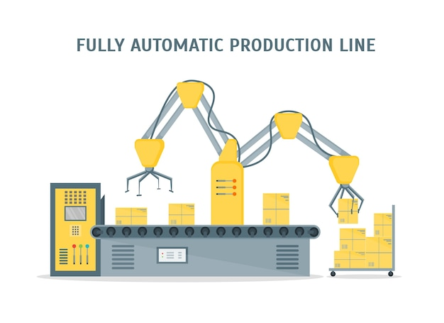 Förderer vollautomatische produktionslinie mit pappkartons. automatische bedienung. stil.