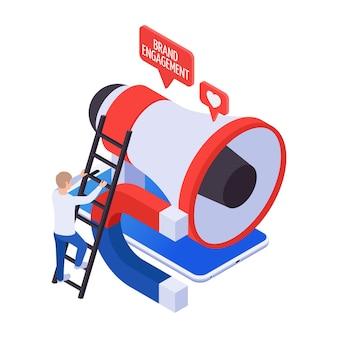 Förderung des markenengagements, das follower-symbol mit buntem 3d-megaphon und isometrischem magnet anzieht