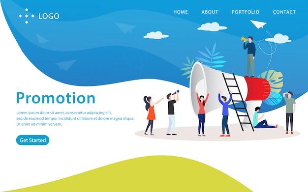 Förderung, websitevektorillustration