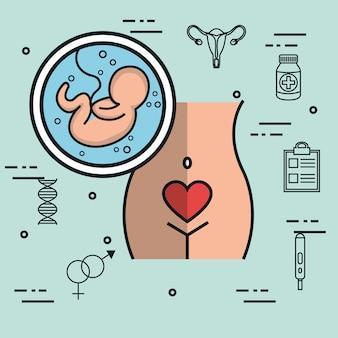 Fötussymbol der schwangeren frau stilisiert