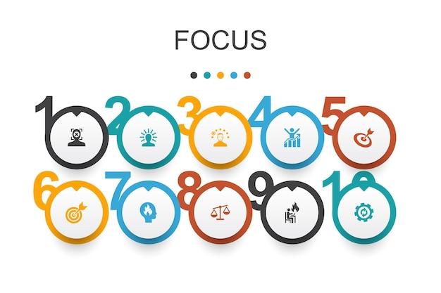 Fokus infografik-designvorlage.ziel, motivation, integrität, einfache symbole verarbeiten