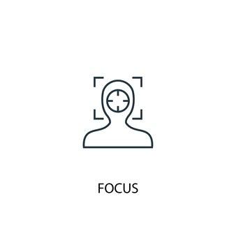 Fokus konzept symbol leitung. einfache elementabbildung. fokus-konzept-umriss-symbol-design. kann für web- und mobile ui/ux verwendet werden