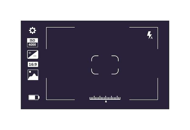 Fokusbildschirm, aufnahmevideo oder kamerafotobildschirm isoliert