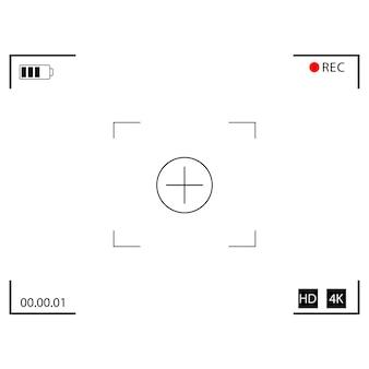 Fokussierscheibe der videokamera. kamerarahmen. interface-sucher