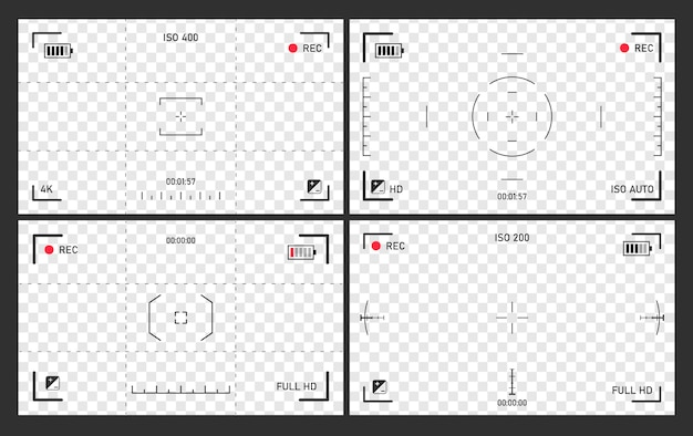Fokussierung des kamerabildschirms, camcorder-sucherset, bildschirmfokus-zoom, batteriestatus, videoqualität, bildstabilisierung, visueller fokus des bildschirms, abbildung.