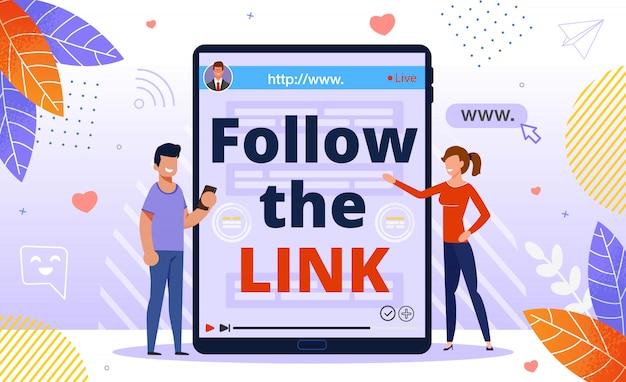 Folgen sie link-, klick- und empfehlungsprogramm-anzeigen