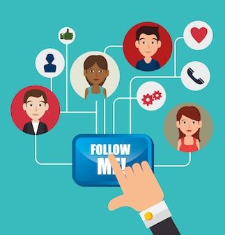 Folgen sie mir soziales netzwerk-thema