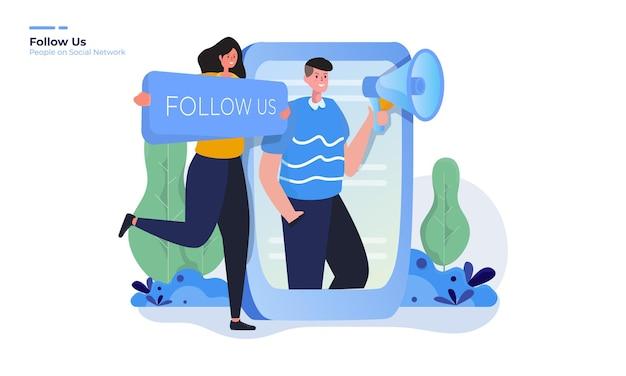 Folgen sie uns illustration für das konzept des sozialen netzwerks