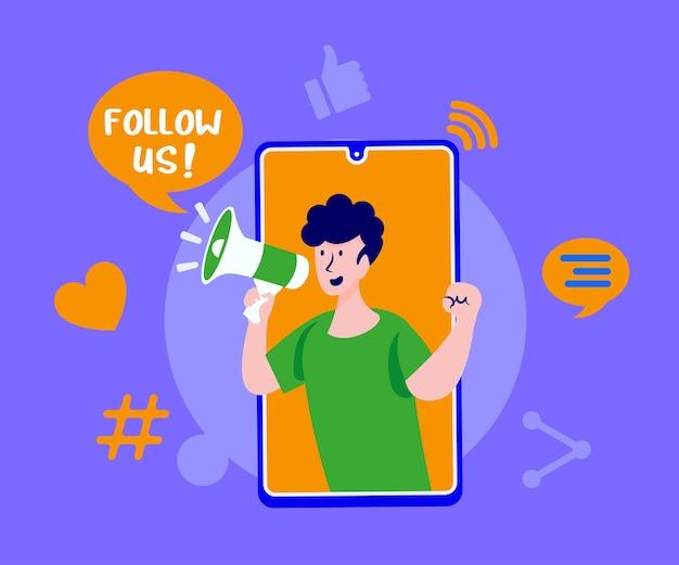 Folgen sie uns social media mit megaphon