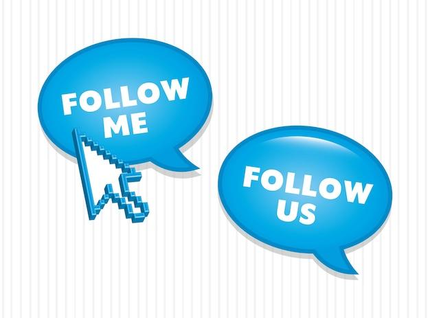 Folgen sie uns und folgen sie mir ikonenvektorillustration
