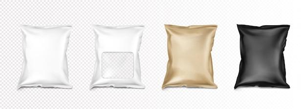 Folienbeutel mit klarem fenster und doypacks für lebensmittel isoliert