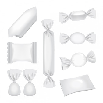 Folienpackung für süßigkeiten und andere produkte, realistische imbisspackung.