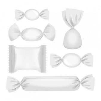 Folienpackung für süßigkeiten und andere produkte, realistische imbisspackung