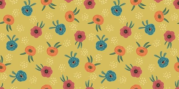 Folk floral nahtlose muster. modernes abstraktes design für papier, cover, stoff, tempo und andere benutzer