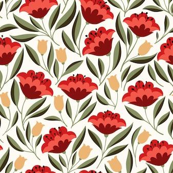 Folk flowers nahtlose muster