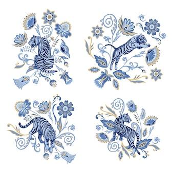 Folklore-blumenkompositionen mit marineblauen tigern asiatische blumen und pflanzen