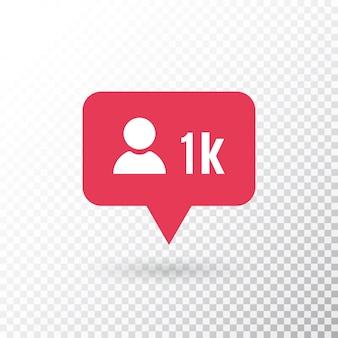 Follower-benachrichtigung. social-media-symbol benutzer. follower 1k-symbol. rote neue nachrichtenblase. schaltfläche