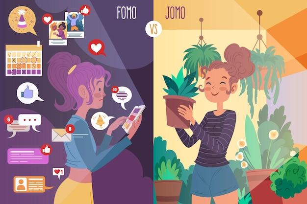 Fomo gegen jomo illustriert