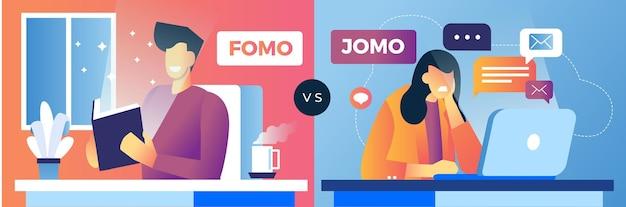 Fomo gegen jomo jungen und mädchen