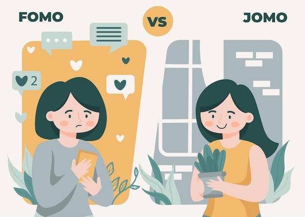 Fomo-syndrom und jomo-konzeptillustration