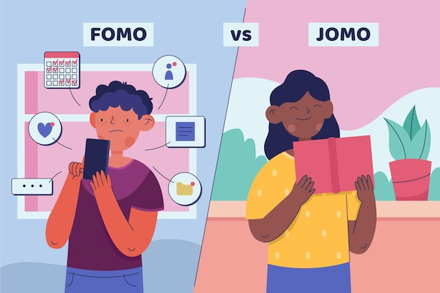 Fomo vs jomo illustrationskonzept
