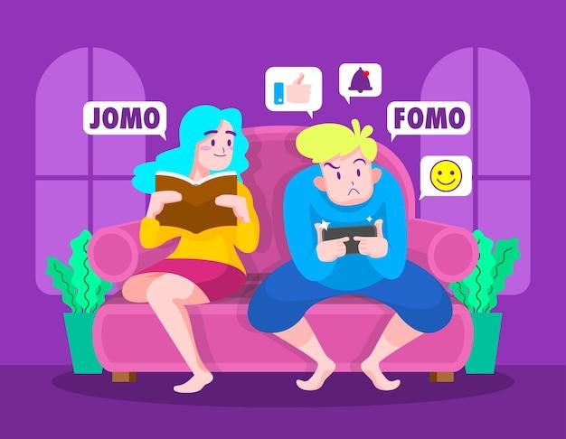 Fomo vs jomo konzeptillustration
