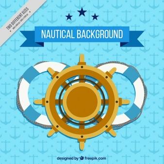 Fondo náutico azul con un timón de barco