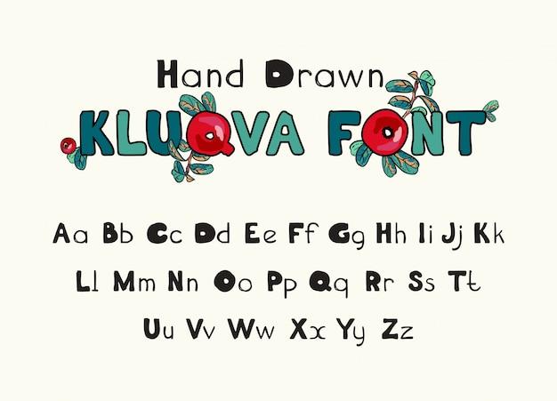 Font dekorative alphabet buchstaben. handschriftliche typografische gestaltung.