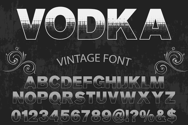 Font label design wodka
