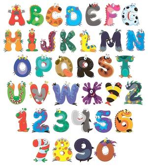 Font monsters englisches alphabet und zahlen mit lustigen zeichentrickfiguren isoliert