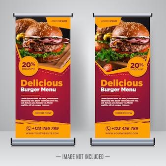 Food and restaurant roll up oder x banner design vorlage