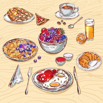 Food breakfast view icon set