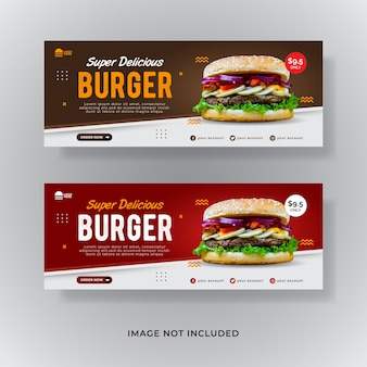 Food burger facebook cover social media post banner