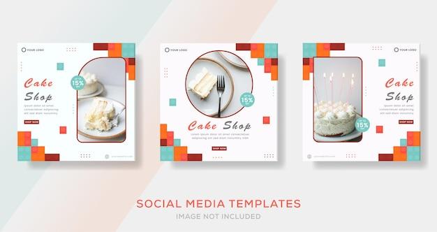 Food cake kulinarische banner-geschichten-post-vorlage für mode-premium-vektor