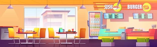 Food court cafe mit sushi-bar und burger-bereich