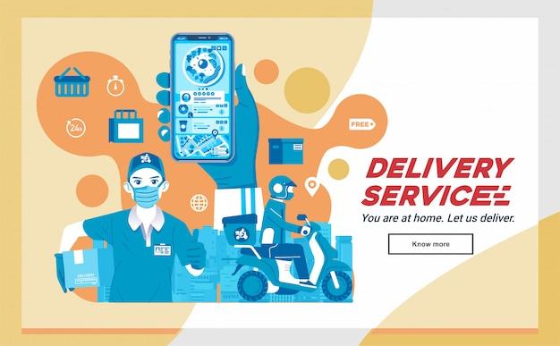 Food delivery app, bestellung food delivery, versand per kurier und mann als lieferfirma maskottchen illustration