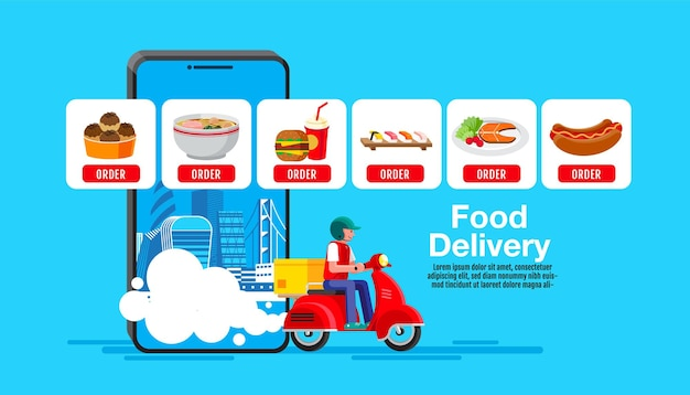 Food delivery banner design, flaches design, online-bestellung
