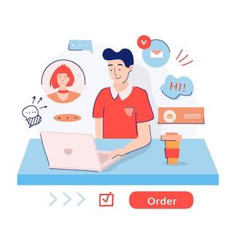 Food delivery boy, der während der quarantäne eine bestellung über das internet entgegennimmt.