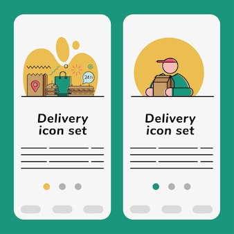 Food delivery icon set banner
