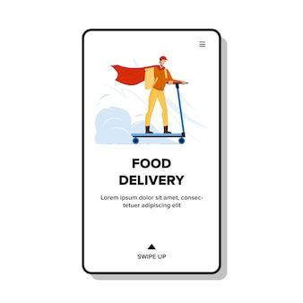 Food delivery service arbeiter reiten roller