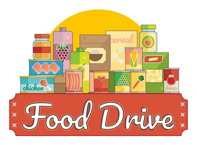 Food drive nächstenliebe bewegung logo vektor-illustration