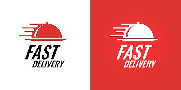 Food fast delivery markenlogo-konzept für restaurant-catering-service-unternehmen. express-logistik-café-geschäftslogo-vektor-eps-isolierte illustration