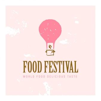 Food festival logo vorlage in verschiedenen farbvarianten isoliert. illustration des strukturierten fliegenden rosa luftballons und des topfes.