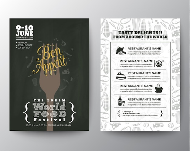 Food festival poster broschüre flyer design-vorlage