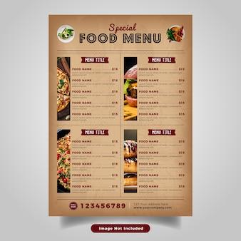 Food flyer menüvorlage. vintage fast-food-menü für restaurant