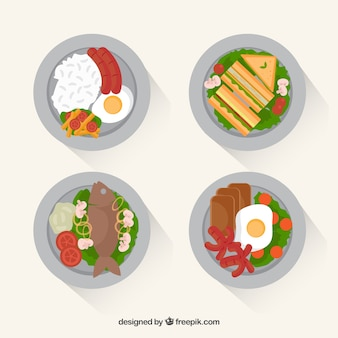 Food-geschirr-sammlung mit draufsicht