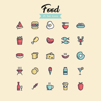 Food icon set gefüllte outline-stile