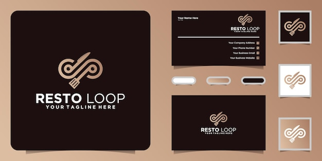 Food infinity logo und inspiration für visitenkarten